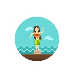 Hula dancer statuette icon summer vacation vector