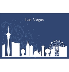 Las vegas city skyline silhouette on blue backgrou vector
