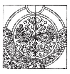 Medieval textile pattern is a richly embroidered vector