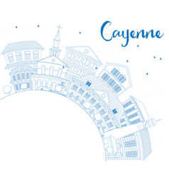 outline cayenne skyline with blue buildings and vector image vector image