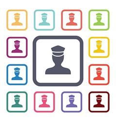 policeman flat icons set vector image vector image