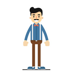 Positive standing man in shirt and pants vector