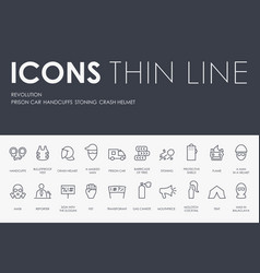 Revolution thin line icons vector