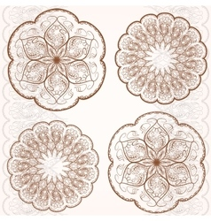 Set decorative circular ornaments classic pattern vector