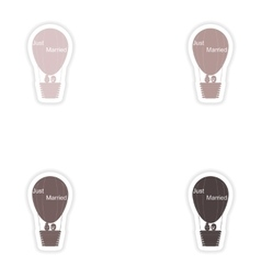 Set paper stickers on white background air balloon vector