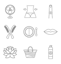 soft skin icons set outline style vector image