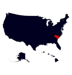 South Carolina State in the United States map vector image