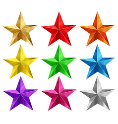 stars in nine different colors vector image