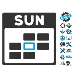 Sunday calendar grid icon with bonus vector