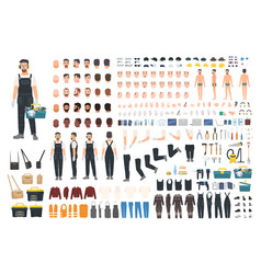 technical worker creation kit set of flat male vector image