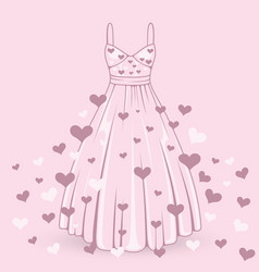 Wedding dress with hearts vector