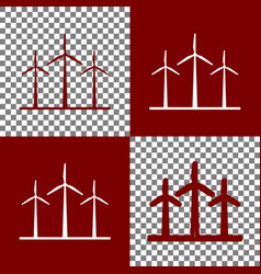 Wind turbines sign bordo and white icons vector