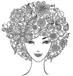 Woman with flowers and butterflies in hair vector