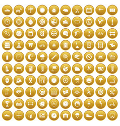 100 motorsport icons set gold vector