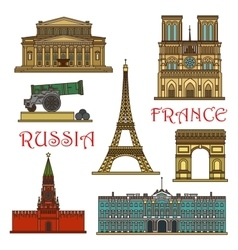 Travel landmarks of france russia thin line icon vector