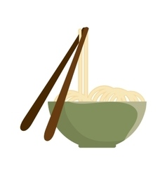 Noodle bowl with chinese sticks vector