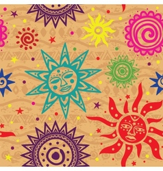 Ethnic sun pattern vector