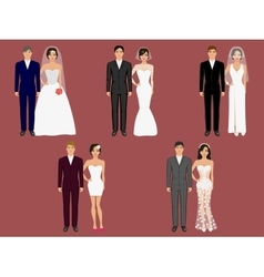 Wedding apparel garment different costumes vector