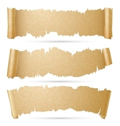 Scroll paper banners set vector