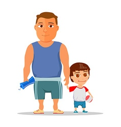 Happy dad and son after gym vector