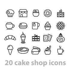 Cake shop icons collection vector