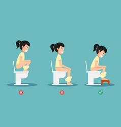 Unhealthy vs healthy positions for defecate vector