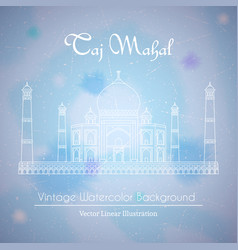 Taj mahal temple watercolor background vector