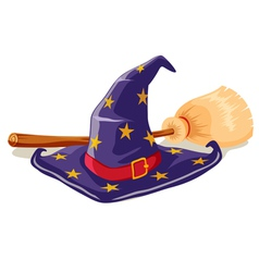 Witch hat and broomstick vector image