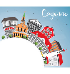 Cayenne skyline with color buildings blue sky and vector