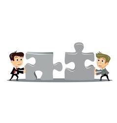 people move puzzle pieces vector image