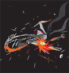 Plane crash black vector