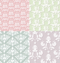 Seamless damask patterns vector