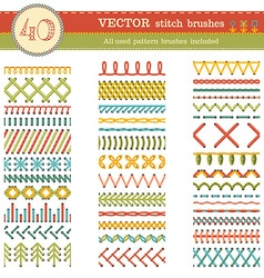 Set of seamless stitch brushes vector