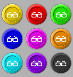3d glasses icon sign symbol on nine round vector