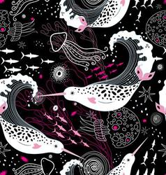 Graphic pattern wonderful narwhals vector