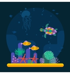 Underwater background with tropical fish and vector
