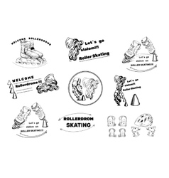 set hand drawn labels logos for Roller Skates vector image