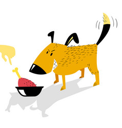 angry dog guards a bowl of food from a human hand vector image vector image