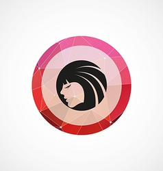 Beauty girl face circle pink triangle background vector image