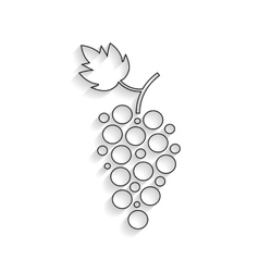 black outline grapes icon with shadow vector image