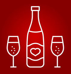 Bottle of champagne with glasses line icon vector