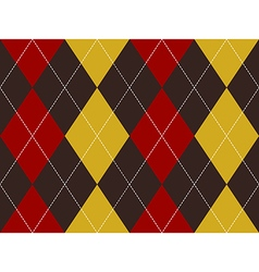 Brown red yellow argyle seamless pattern vector image