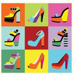Candy colors shoe set vector image