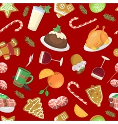 Christmas food pattern vector image vector image