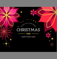Classic black xmas background with flowers vector