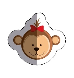 Color sticker with female monkey head and middle vector