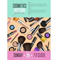 Cosmetics promo poster with date and time vector