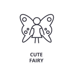 cute fairy line icon outline sign linear symbol vector image