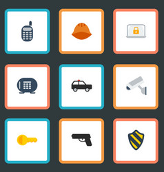 Flat icons walkie-talkie lock armored car and vector