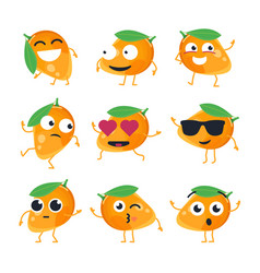 Funny mango - isolated cartoon emoticons vector